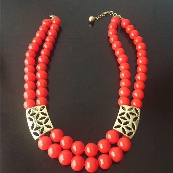 Liz Claiborne Orange Necklace Orange necklace with gold tone. Liz Claiborne Accessories