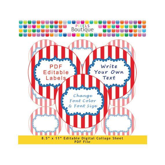 PDF Editable Circus Style 25 Inch Circles Digital Collage Sheet (No