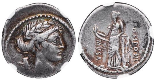 Ancient Coins - POPONIUS MUSA SILVER DENARIUS - CLIO MUSE OF HISTORY EX CLAIN-STEFANELLI COLLECTION - XF NGC GRADED ROMAN REPUBLICAN COIN (Inv. 11116)