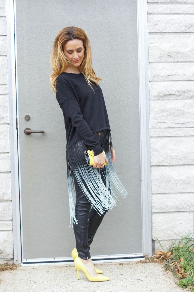 Fringe sweater and neon pumps
