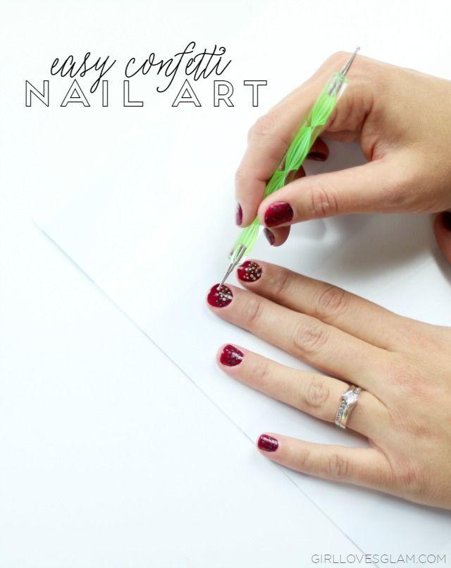 Easy Fall Confetti Nail Art | Confetti nails, Pedicure nail designs ...