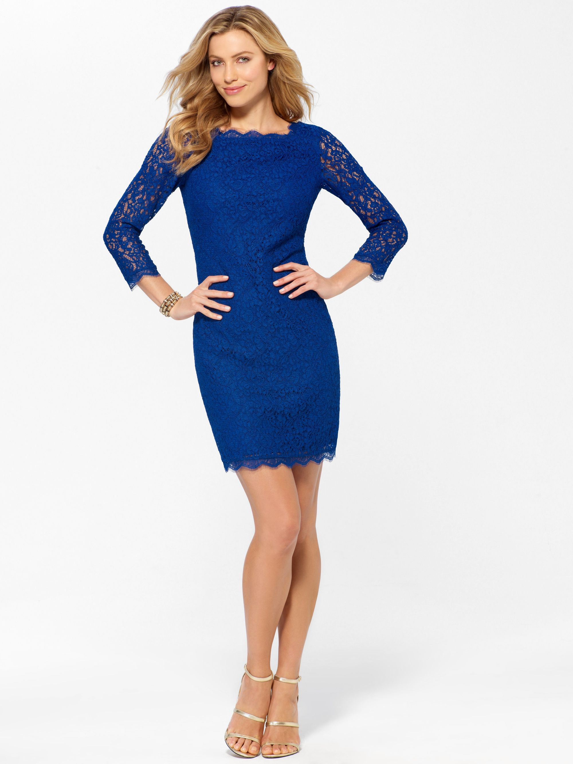 Dresses to wear to a fall wedding for a guest  COCKTAIL DRESSES  Cobalt Lace  Sleeve Dress  Caché Suitable for