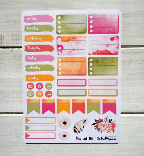 Mini week 005, Planner Stickers, ECLP Stickers, Erin Condren, Filofax Stickers, Life Planner, Passion Planner, Kikki k,weekly stickers, eclp