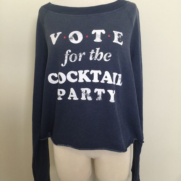 NWT Auth Wildfox vote for cocktail party jumper S Brand new with tag, color: vtg blue, size S. Priced to sell. No trades Wildfox Couture Sweaters Crew & Scoop Necks