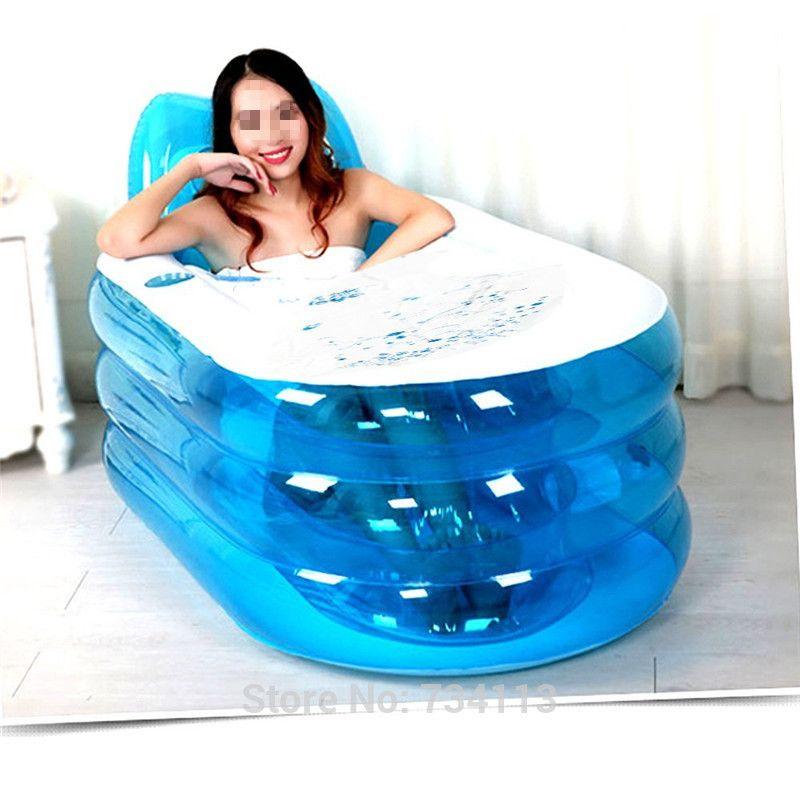 Bathtubs Foldable Durable Spa Inflatable Bath Tub With Air Pump Inflatable Bath Lie Down Pose 170cm 70kg Or Less Relax B Portable Spa Baths For Sale Blue Pumps