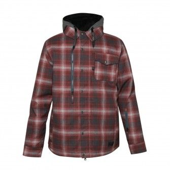 686 2015 Authentic Woodland Cardinal Flannel YD Plaid Mens Snowboard Jacket 21999