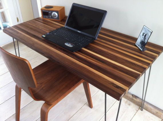 Mid Century Modern Computer Desk Featuring Black Walnut Top And Hairpin Legs On Etsy