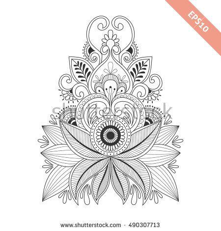 Hand Drawn Floral Background In Doodle Or Henna Style Black Line Vector Design For Cover Bag Knapsack Noteb Fond Floral Dessins Sur Les Mains A Imprimer