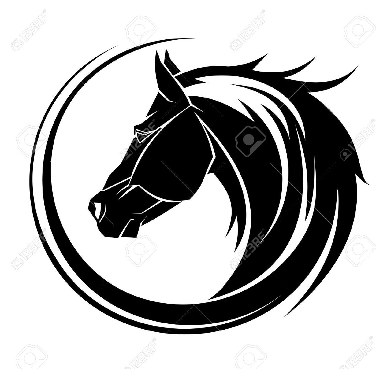 Horse tribal. Stock vector tattoo ideas