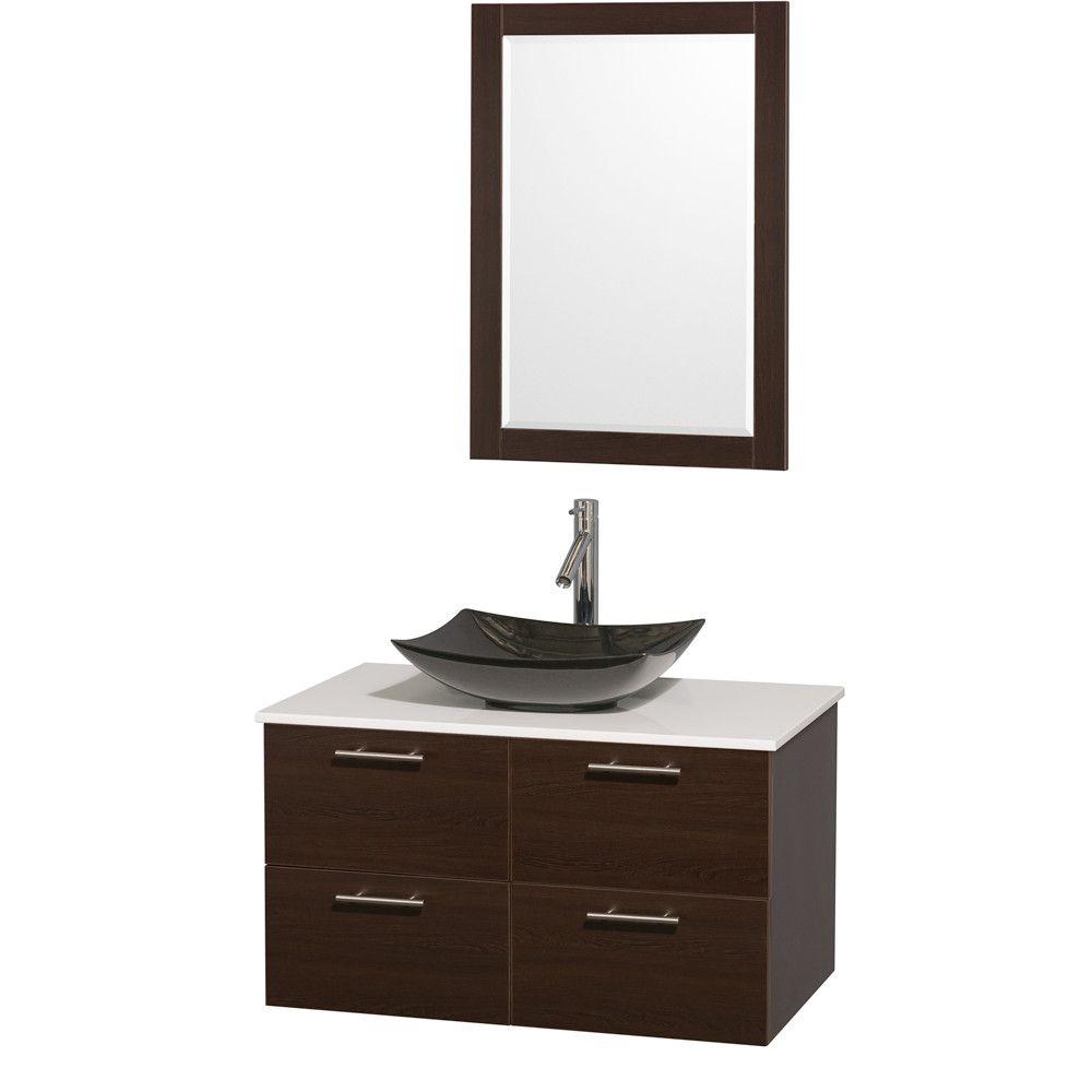 """Amare 36"""" Single Espresso Bathroom Vanity Set with Mirror"""