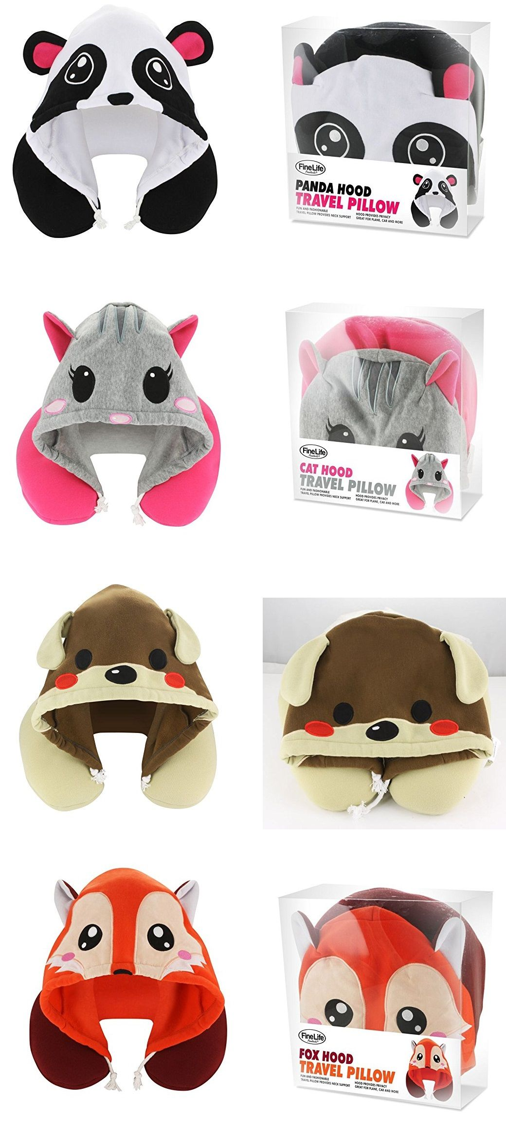 Animal Hoodie Travel Pillows