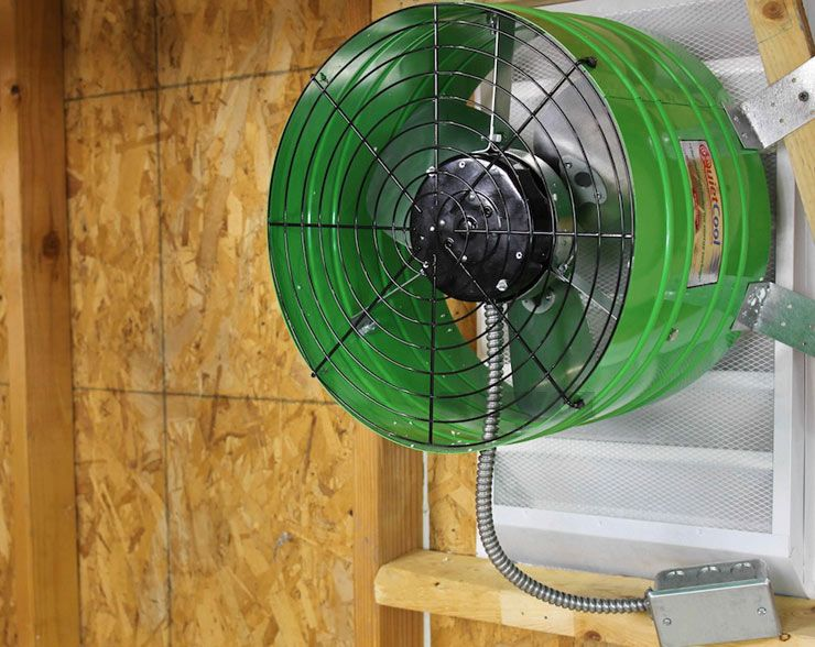 Don T Bake In Your Garage In The Summer Install This Exhaust Fan Which Moves 1560 Cfm And Is Made In The Usa Attic Fan Attic Fans Garage Ventilation