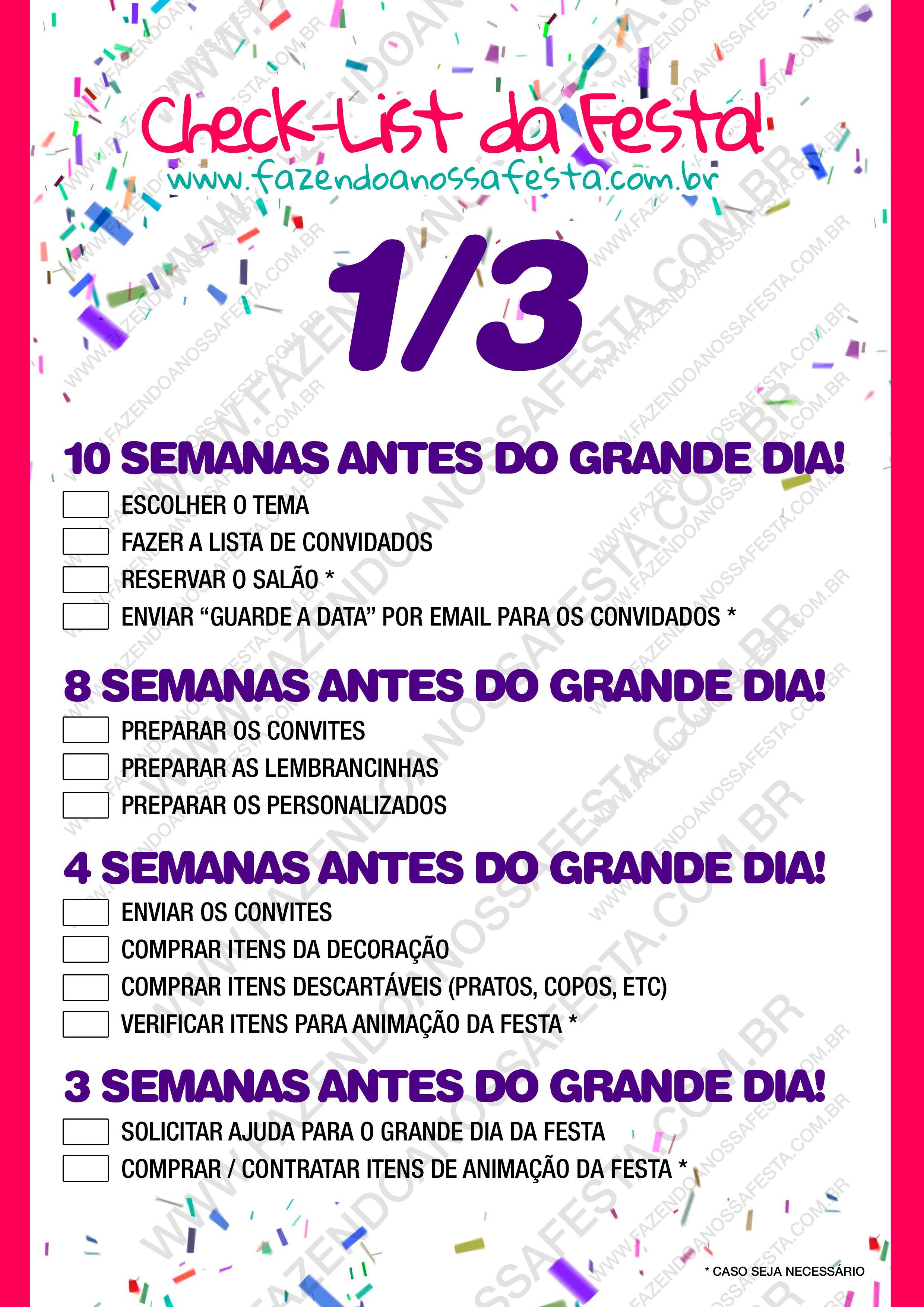 Check List Festa Jpg 2480 3508 Bento Pinterest Unicornio