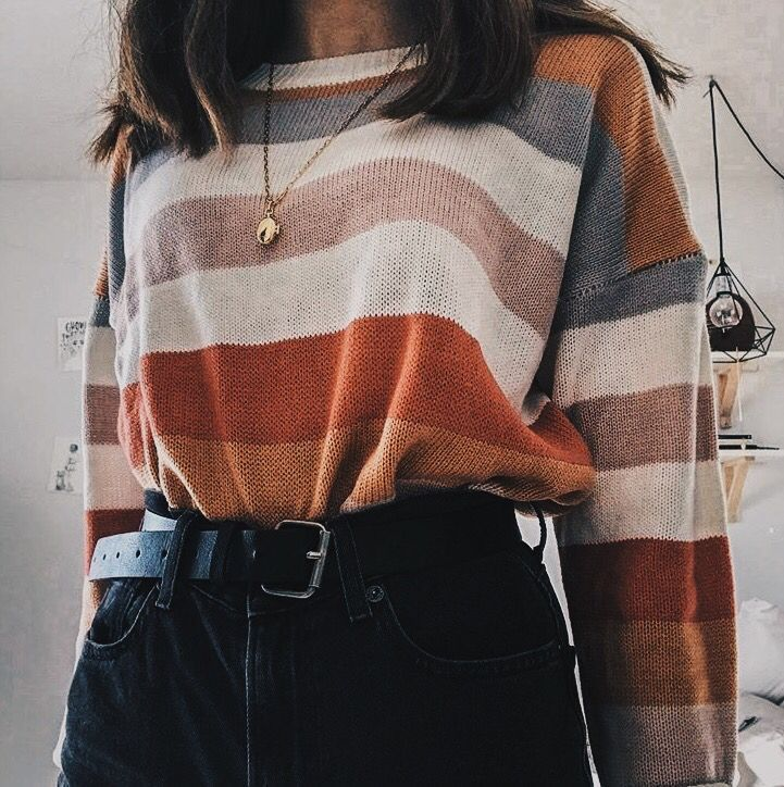 Striped sweaters | hipster | casual outfits | school outfits | fall outfits | high waisted jeans | black jeans