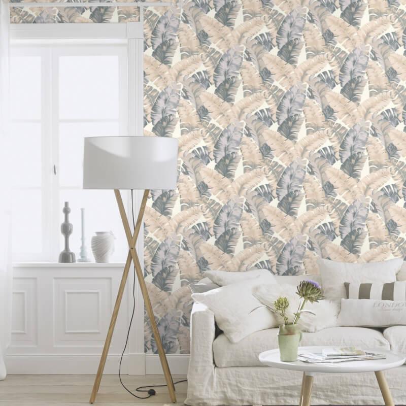 Rasch Yucatán Floral Leaves White/Grey Wallpaper 535617