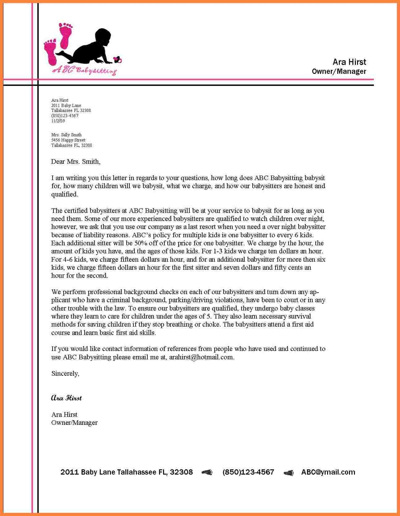 For Business Letter Letterhead With Modified Style Format Example