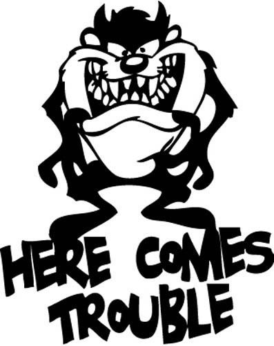 taz devil here comes trouble vinyl decal sticker wall decals