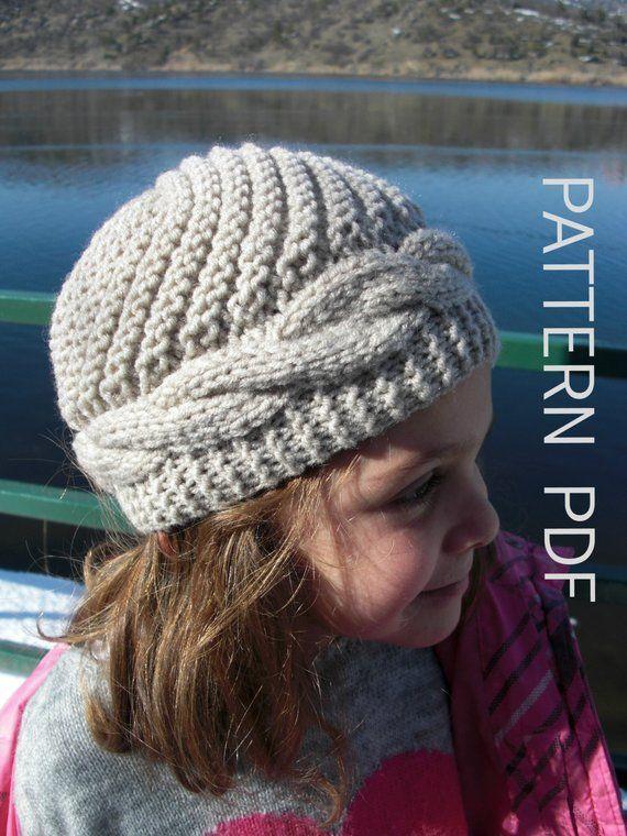 5e5534a8e094 knitting pattern hat Knit hat pattern- 2- 6 Years Old Girl Hat Digital  PATTERN PDF - Cable Knit h