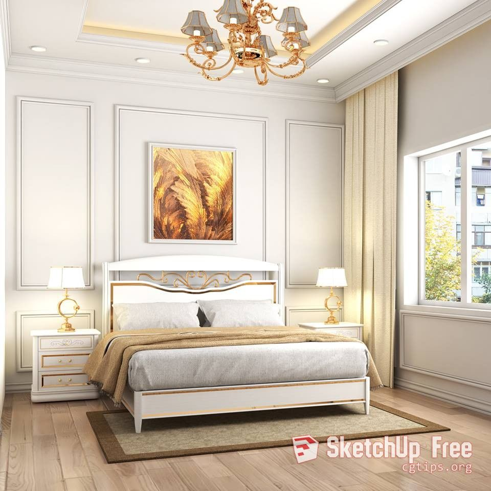 1086 Interior Classic Bedroom Sketchup Model By Xuan Khanh Free