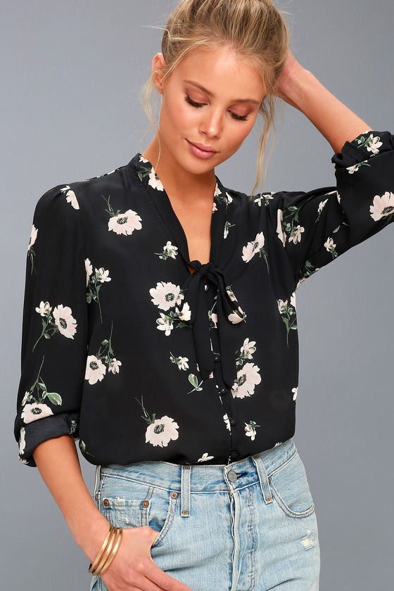 polka dot cuff Extra long sleeve office wear woman crew neck Black floral top