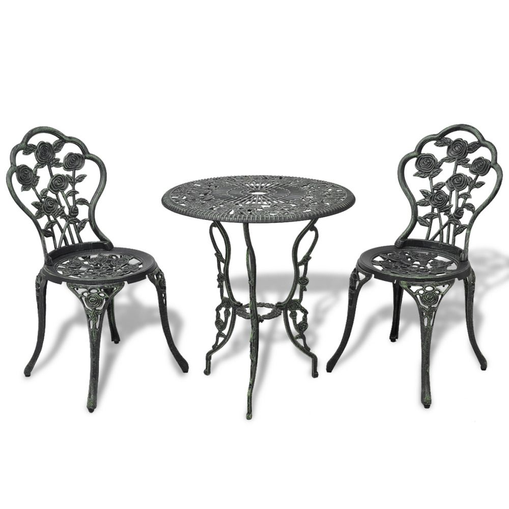 Admirable Three Piece Bistro Set Green Cast Iron Outdoor Furniture Home Remodeling Inspirations Propsscottssportslandcom