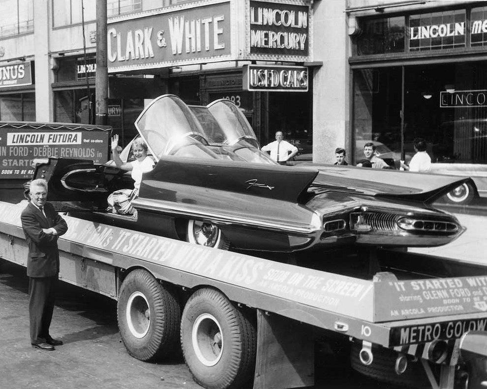 """1959: promoting the movie """"it started with a Kiss"""".  Lincoln Futura became the best known show car in the world: the BATMOBILE"""
