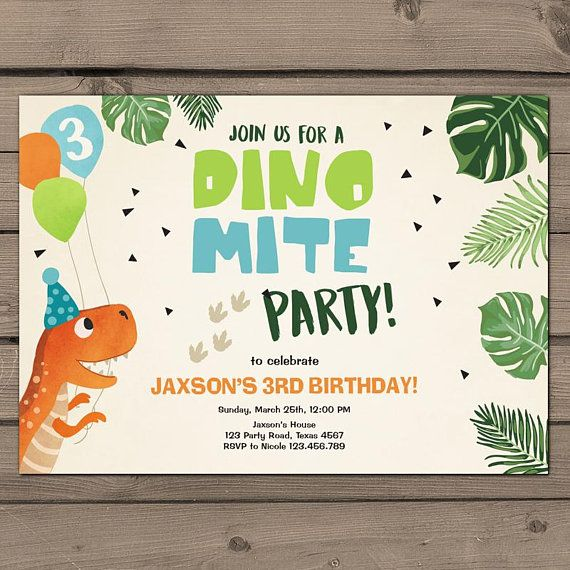 Dinosaur Birthday Invitation Party Dig It T Rex Dino Mite Boy Digital PRINTABLE ANY AGE