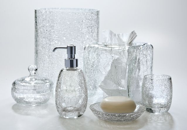 This Clear Glass Has A Wonderful Crackle Finish That Catches And Mesmerizing Clear Bathroom Accessories Review