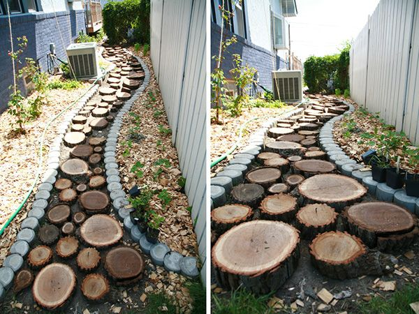 Diy Tutorial Recycled Wood Slice Garden Pathway My Style Wood