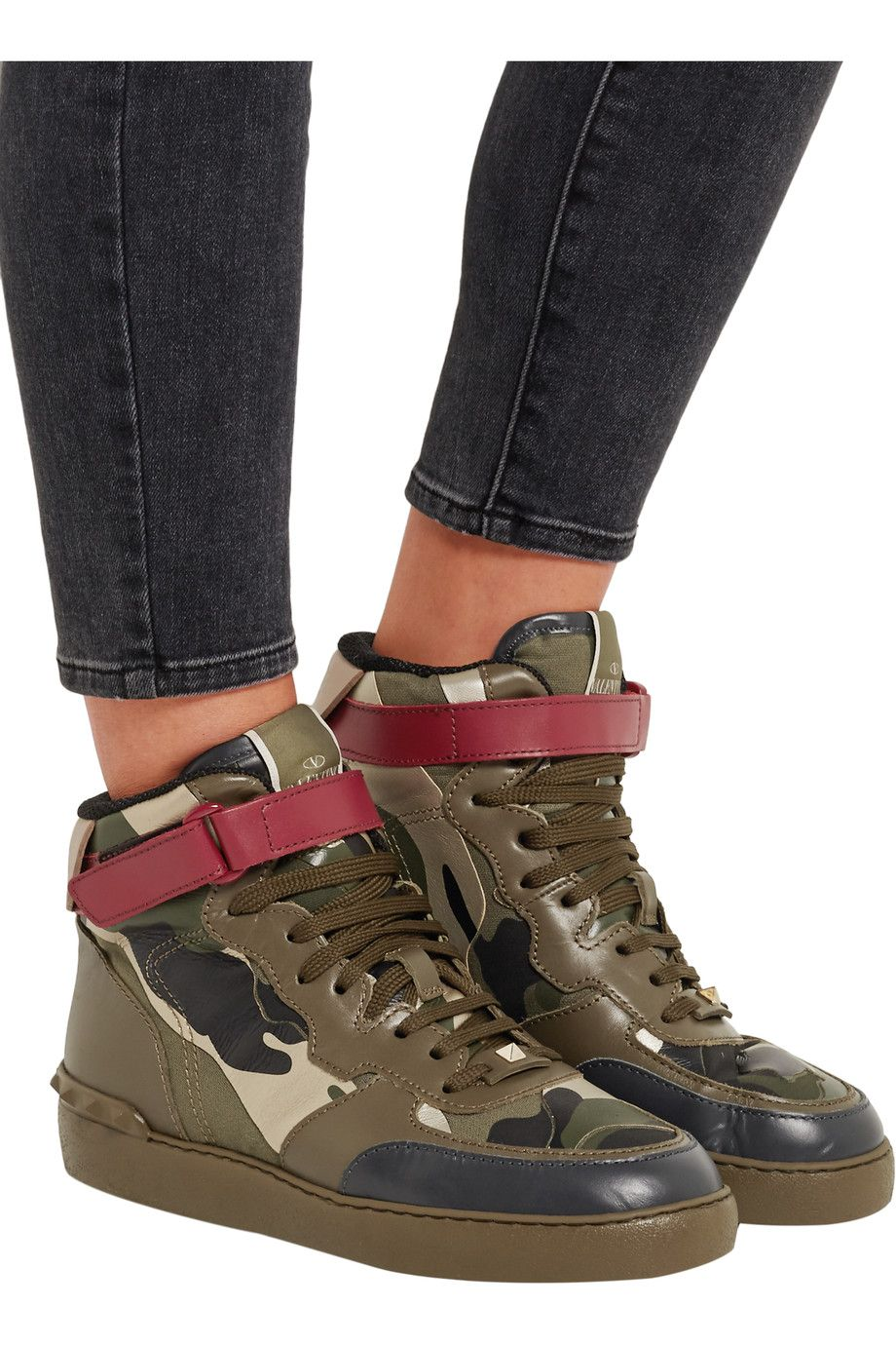 ValentinoCamouflage-print leather high-top sneakersoutfit ...