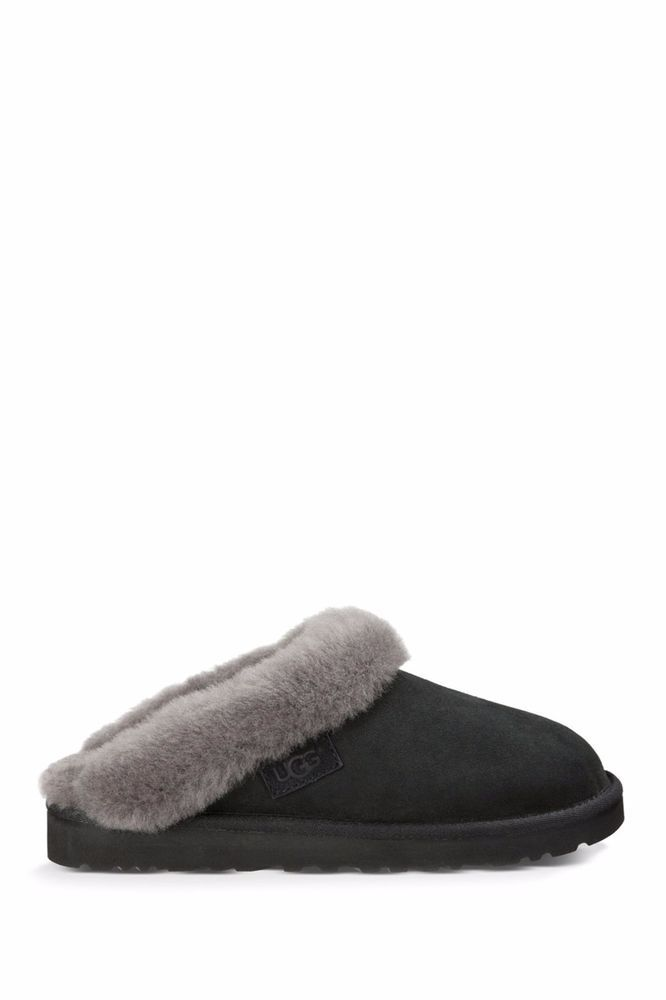 UGGS AUSTRALIA Ugg Cluggette Scuff Indoor Outdoor Slippers Shoes Leather Black 5 #UGGAustralia #SlipperShoes