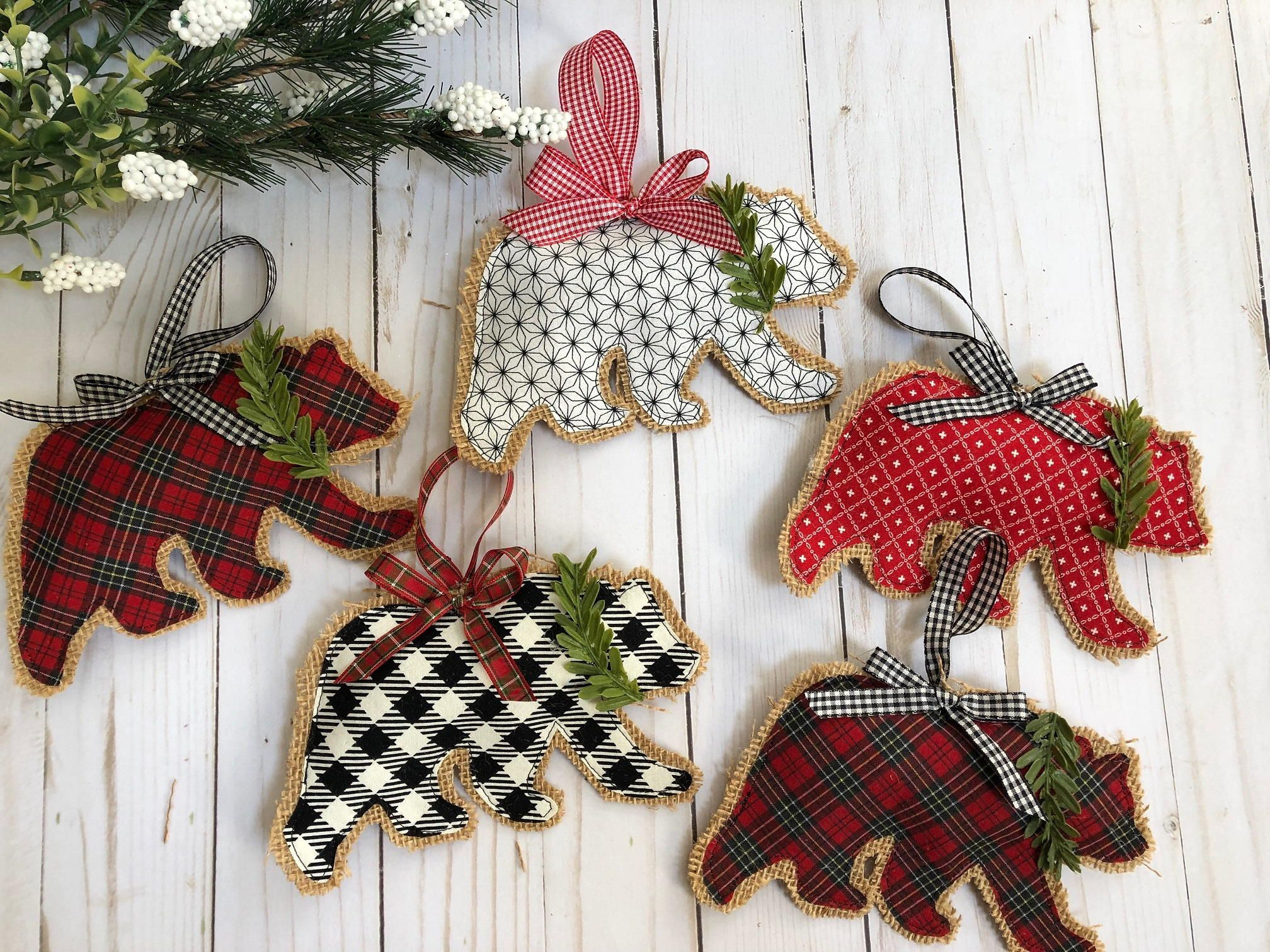 Rustic Burlap Bear Christmas Ornaments Fabric Christmas Ornaments Burlap Christmas Ornaments Christmas Ornaments