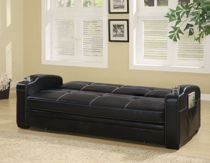 300132 Black Faux Leather Sofa Bed W