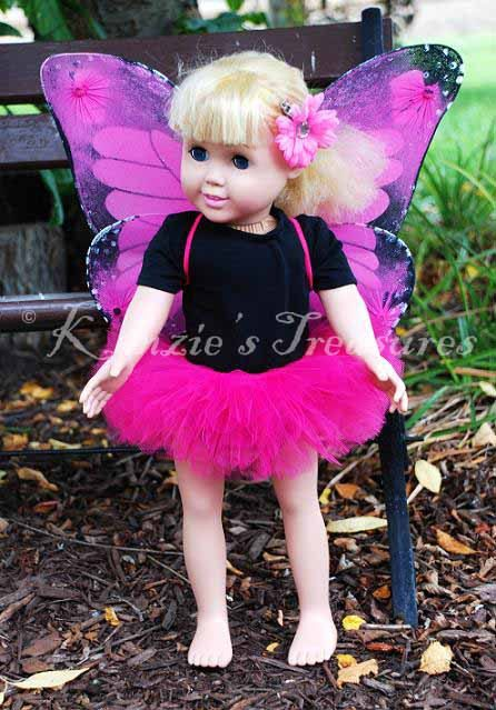 4-Piece Pink Monarch Butterfly Tutu Outfit for 18\