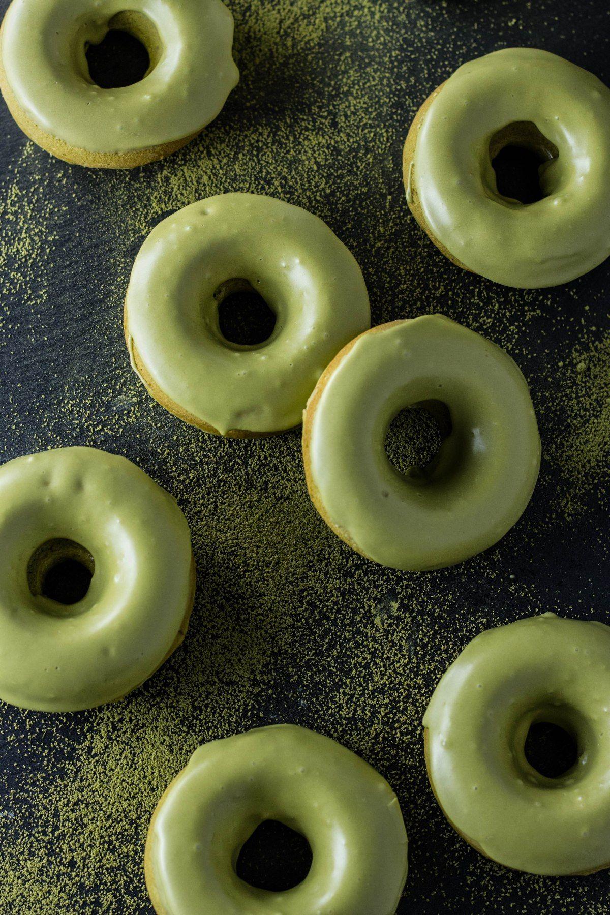 Baked Matcha Glazed Doughnuts · My Three Seasons