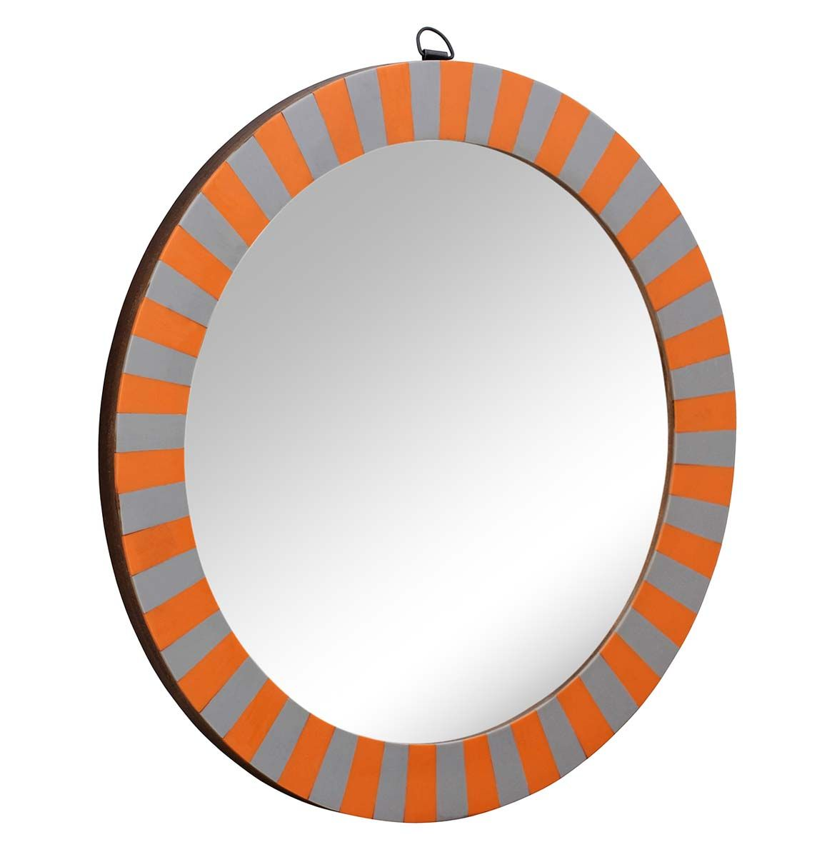 Wholesale 144 wall mirror in bulk handmade orange and grey wholesale 144 wall mirror in bulk handmade orange and grey striped pattern wall mounted amipublicfo Choice Image