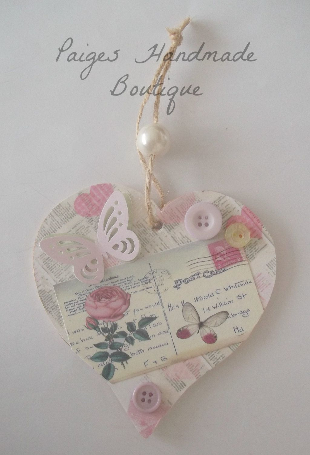 Handmade Wooden Decorative Hanging Heart Keepsake With Butterfly And Button Embellishment 3 99 Via Etsy Wooden Hearts Crafts Heart Crafts Crafts