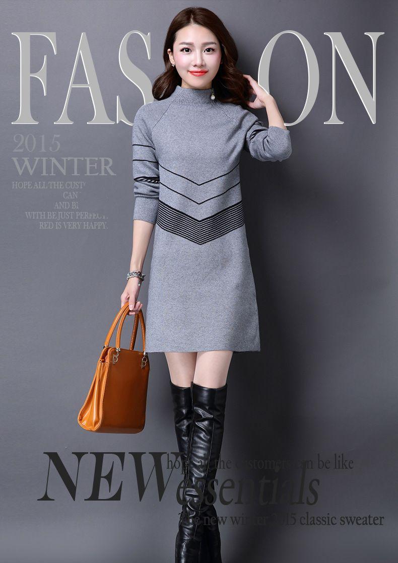 Fashion winter women sweater dress women clothes ladies long sleeve