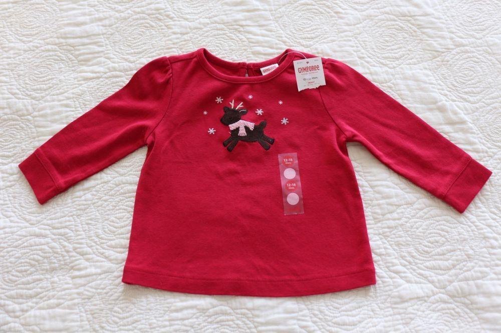 NWT Baby Girls Gymboree WINTER SNOWFLAKE 12 18 M Red Holiday Shirt Reindeer New #Gymboree #EverydayHoliday