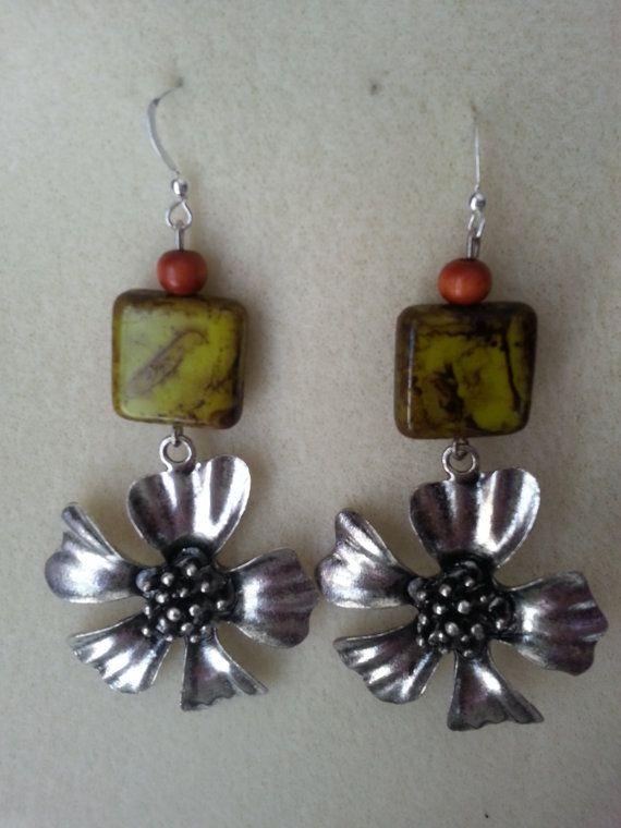 Silver Flower Earrings by sweetmelissasshop on Etsy, $7.00