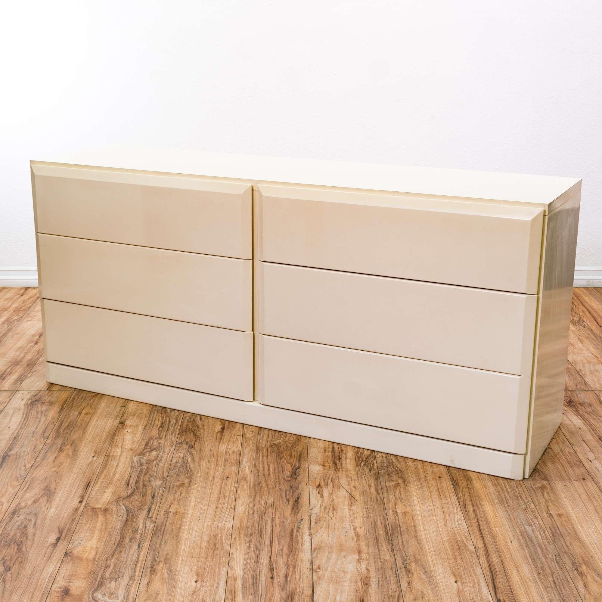 Best Lane Cream White Lacquer 6 Drawer Long Dresser 400 x 300