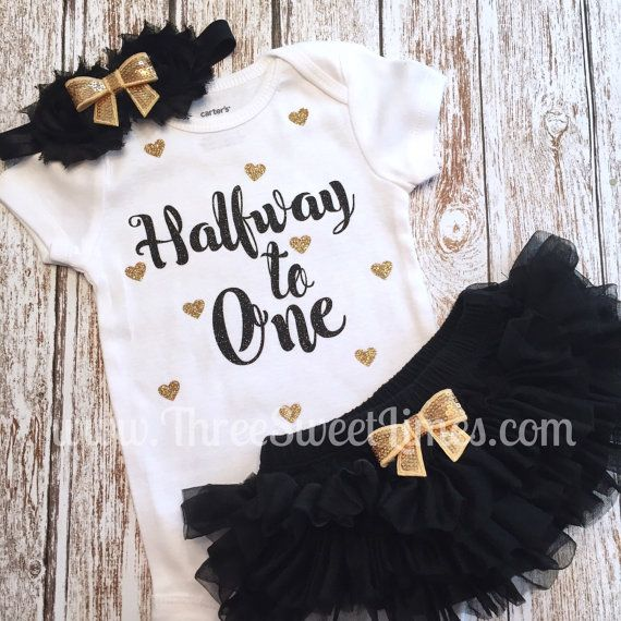 Black Pink 1//2 Half Birthday Tutu Shirt Outfit Custom Size Set 6 months old