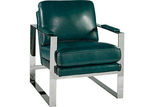 Shop For A Cindy Crawford Home Preston Ridge Turquoise Leather Chair At  Rooms To Go.