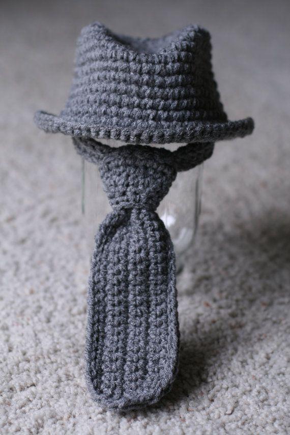 Fedora Hat Neck Tie Set Newborn 3 Months By Lovemeraggedbytracy