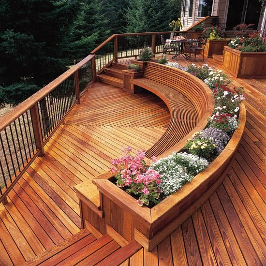 runde sitzbank holz terrasse zwei stufen pflanzenbehälter ...
