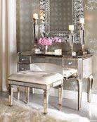 """Claudia"" Mirrored Vanity/Desk & Vanity Seat"