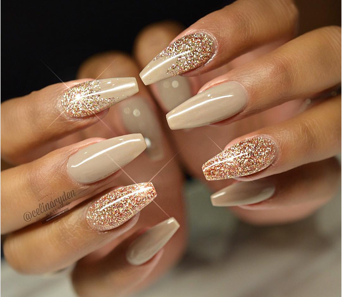 Autumn Glitter Gel Manicure | Nails | Pinterest | Glitter gel, Gel ...