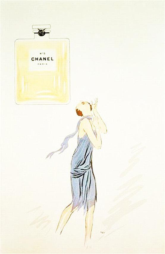 Mademoiselle Chanel et le parfum N°5 - Lithographie de Sem, 1921 © ADAGP