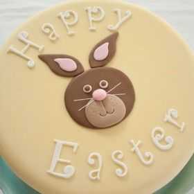One Easter cake, three designs, part 3 - Easter cakes, Easter cake tutorials, Easter baking, Easter bunny cake, Easter cupcakes, Bunny cake - The last of my three Easter cake tutorials  A cute little Easter bunny cake! I have made a fondant grass border instead of a ribbon this time  This Easter bunny cake would be a fun project to make for kids, since the bunny is made using basic tools  If you like, you can add more …