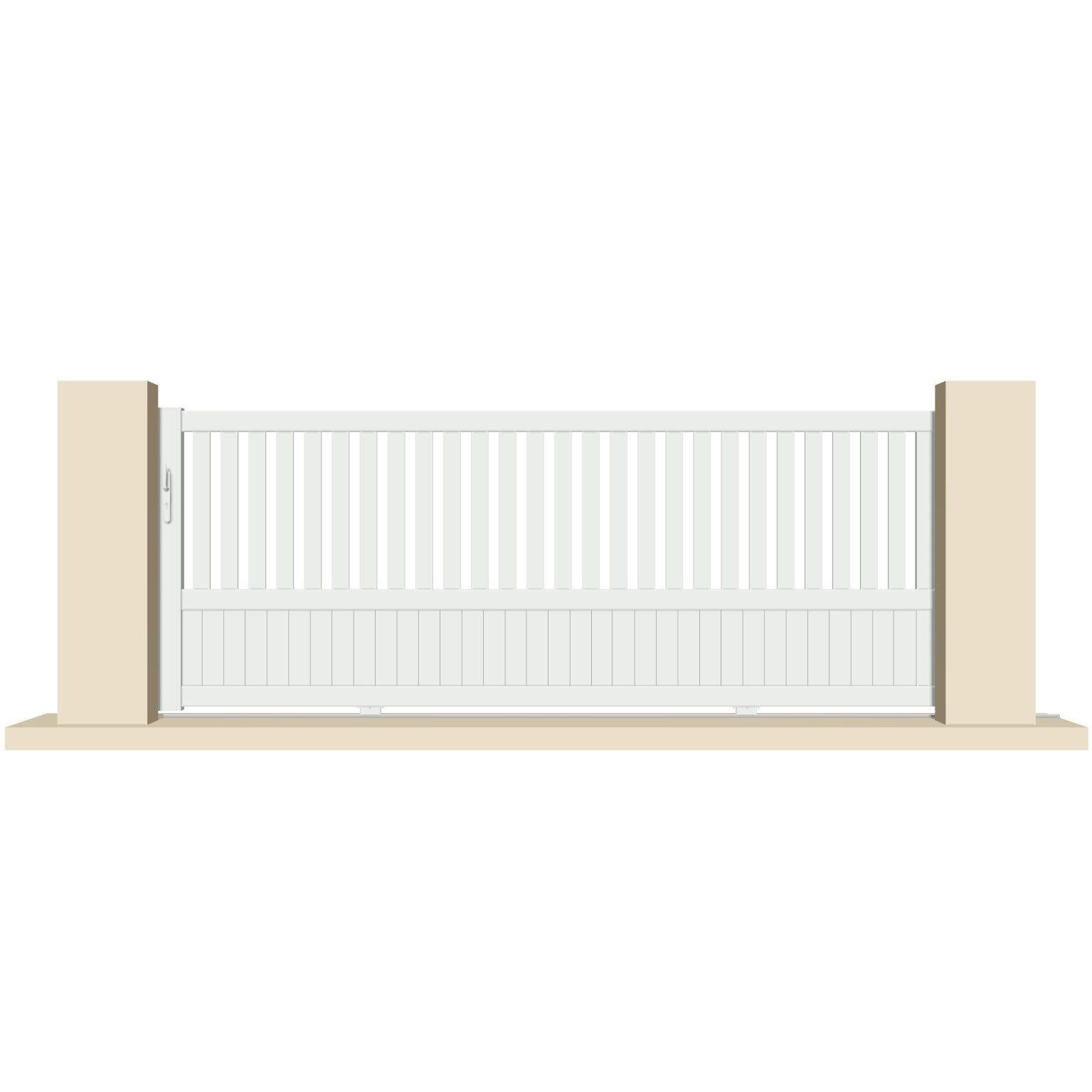 Portail Coulissant Pvc Launay Blanc Excellence L 358x H 140 Cm Portail Coulissant Portail Pvc